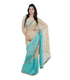 Buy Blue embroidered shimmer saree With Blouse shimmer-saree online