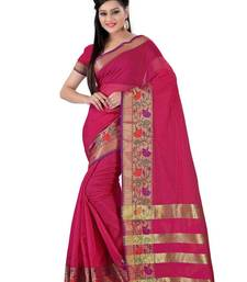 Buy Maroon plain chanderi saree with blouse chanderi-saree online