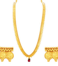 Buy Youthful Laxmi Temple Coin Gold Plated Necklace Set For Women necklace-set online