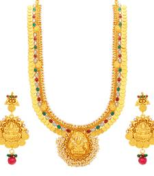 Buy Artistically Laxmi Temple Coin Gold Plated Necklace Set For Women necklace-set online