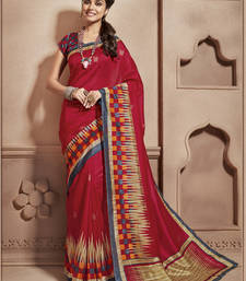 Buy Red Printed cotton_silk saree With Blouse cotton-saree online