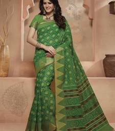 Buy Green printed Gadwal Cotton saree With Blouse kalamkari-saree online