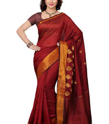 Buy Marron woven silk saree With Blouse silk-saree online