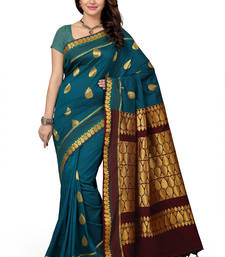 Buy Blue woven silk saree with blouse silk-saree online