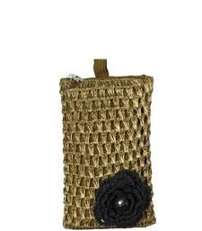 Buy Mobile Crochet Pouch in Copper Zari with Motif in Black phone-case online