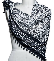 Buy Black woven fine cotton stole and dupattas stole-and-dupatta online