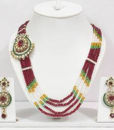 Off Center Pendent Red Crystal Necklace Set shop online