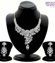 Buy Sukkhi Glorius Rhodium plated AD Stone Studded Necklace Set 1095VN1500 great-online-shopping-festival-2014 online
