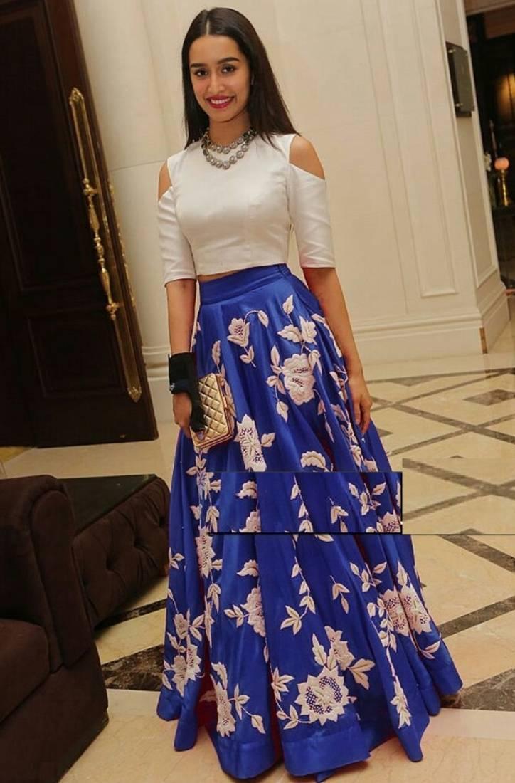 Buy Blue Banglori Silk Embroidered Unstitched Lehenga