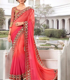 Buy light pink embroidered faux jacquard saree With Blouse jacquard-saree online