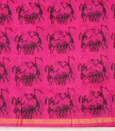 Buy Pink Organza block printed saree  organza-saree online