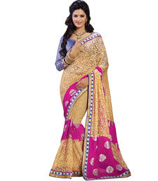 Buy Beige & Magenta embroidered brasso saree With Blouse brasso-saree online