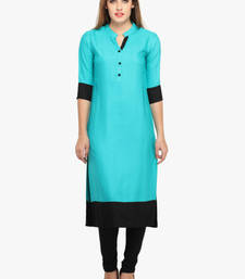 Buy Blue plain Cotton kurtas-and-kurtis plus-size-kurti online