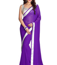 Buy Purple embroidered Chiffon saree With Blouse designer-embroidered-saree online