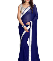 Buy Blue embroidered Chiffon saree With Blouse designer-embroidered-saree online
