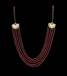 Buy Red manik onyx stones and kundan multistrand necklace Necklace online