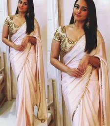 Buy Cream embroidered georgette saree With Blouse sonakshi-sinha-saree online