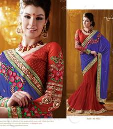 Buy Georgette Blue Red Embroidered Lehenga Saree BlouseSC4002 lehenga-saree online
