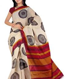 Buy Pavechas Mangalgiri Printed Cotton Sari  - Fiza Beige MK457 cotton-saree online