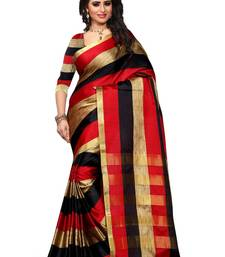 Buy Red and Black plain art silk saree With Blouse art-silk-saree online