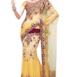 Buy Triveni Yellow Maroon Net Silk Satin Lehenga Saree - 6220 eid-sarees-dress online