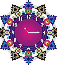 Buy Multicolor designer wooden wall clock new-year-gift online