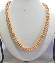 Buy Golden White Pearl Long Chain Necklace Set necklace-set online
