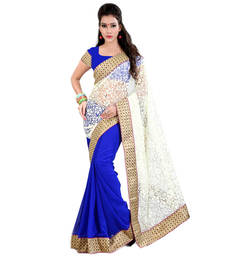 Buy blue plain brasso saree With Blouse brasso-saree online