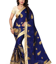 Buy  Nevy Blue  embroidered satin saree With Blouse satin-saree online