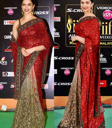 Buy red embroidered Net saree With Blouse bollywood-saree online