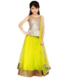 Buy yellow jacquard kids lehenga choli kids-lehenga-choli online