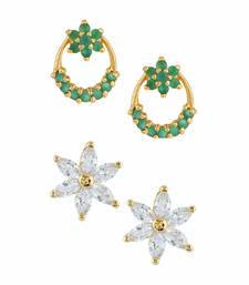 Buy Green gold plated stud earrings combo-earring online