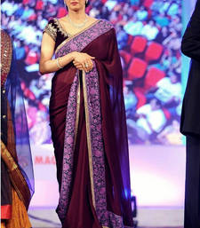 Buy maroon plain silk saree With Blouse bollywood-saree online