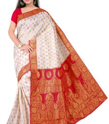 Buy White printed banarasi silk saree With Blouse banarasi-silk-saree online