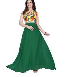 Buy Green georgette printed semi stitiched party wear gowns party-wear-gown online