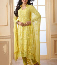 Buy Yellow chiffon embroidered semi stitched salwar with dupatta pakistani-salwar-kameez online
