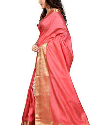 Buy light coral printed banarasi silk saree With Blouse banarasi-silk-saree online