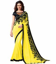 Buy yellow embroidered chiffon saree With Blouse designer-embroidered-saree online