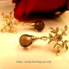 Buy Snowflakes with Smoky Quartz (OJGG09) danglers-drop online