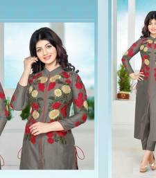 Buy Gray cotton embroidered semi stitched salwar with dupatta cotton-salwar-kameez online