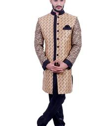 Buy natural jute with black jute printed Jodhpuri Sherwani jodhpuri-sherwani online