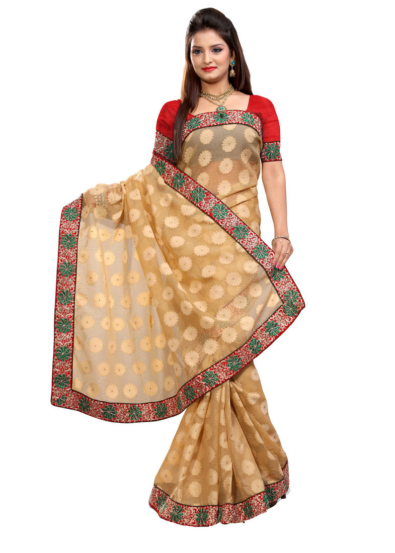 Buy Chikoo Embroidered Jacquard Saree With Blouse Online