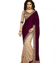 Buy maroon embroidered net saree With Blouse brasso-saree online