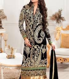 Buy Black cotton embroidered semi stitiched salwar with dupatta party-wear-salwar-kameez online