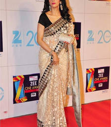 Buy cream embroidered net saree With Blouse sridevi-saree online