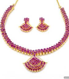 Buy BELL NECKLACE SET WITH EARRINGS (RUBY) - PCN1068 Necklace online