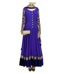 Buy Blue embroidered georgette unstitched salwar with dupatta anarkali-salwar-kameez online