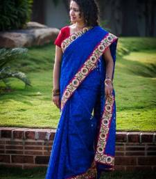 Buy Royal blue jute silk jacquard saree silk-saree online
