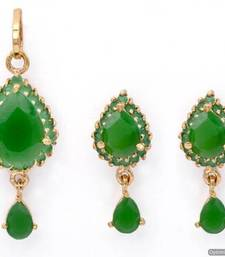 Buy EXOTIC STONE STUDDED PAAN LOCKET SET WITH EARRINGS (EMRALD) - PCL1012 Pendant online