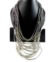 Buy Grey Long Necklace with silver matty beads stationery online